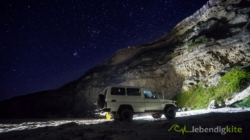 Camping under the stars and Milky way in Australia with Landcruiser on the beach
