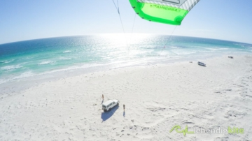 Kitesurfing in Port Denison Australia with nice water colors, Gopro camera mounted in Kite