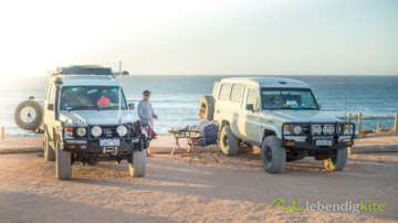 Troopy at the Kite Spot in Gnaraloo and Camping with sunset