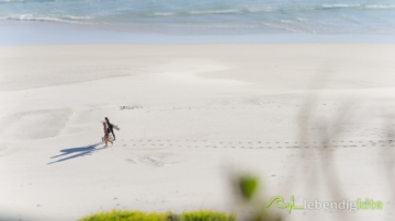 Surfers walking on the beach after surf Session and leave foot prints in white sand