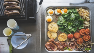 free BBQ Grills in Australia for cooking delicious breakfast with sausages, fried egg, bacon, spinach, onions, pancakes