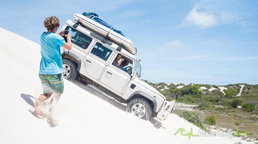Sand dunes driving Lancelin Kitesafari Kite tour Australia