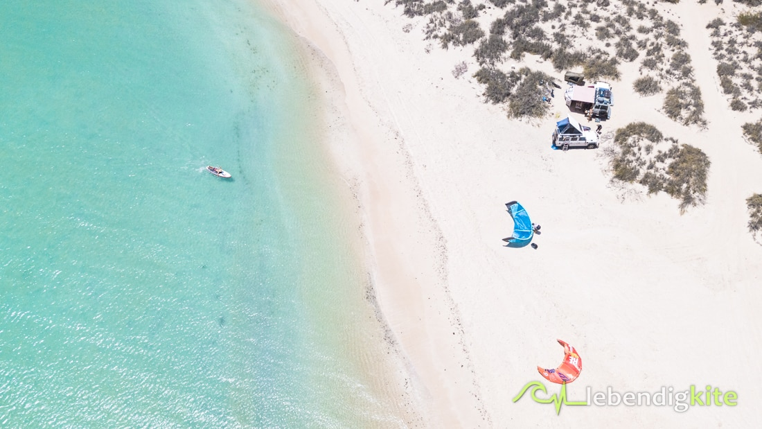 Westaustralien Camping direkt am Strand bester Kitespot