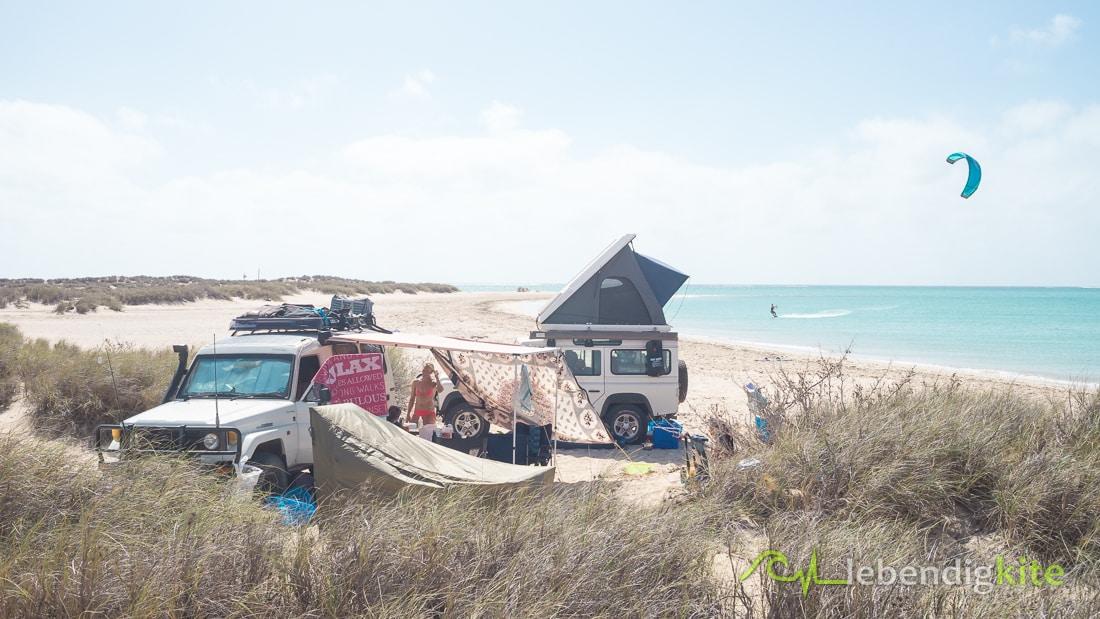 Camping am Kitespot Australien Kitereisen Kitesafari